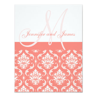 Coral Damask Monogram Names RSVP Reply Cards