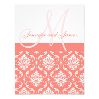 Coral Damask Monogram Names RSVP Reply Cards Personalized Announcement