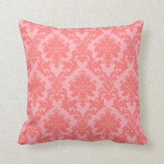 Coral Damask Pattern Throw Pillow