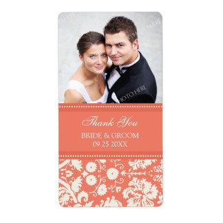 Coral Damask Photo Wedding Labels