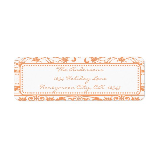 Coral Damask Swirl Dot Address Label