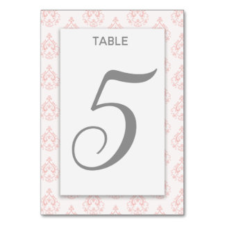 Coral Damask Table Card