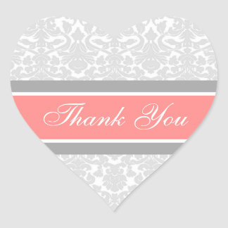 Coral Damask Thank You Wedding Envelope Seals Heart Sticker