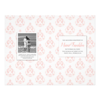 Coral Damask Wedding Program Flyer