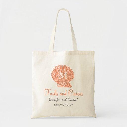 Coral Destination Wedding Tote Bags Caribbean