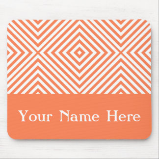 Coral Diamond Chevron with custom name Mouse Pad