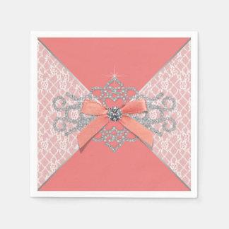 Coral Diamond Lace Party Paper Napkin