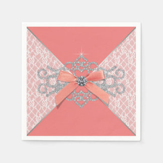 Coral Diamond Lace Party Paper Napkins