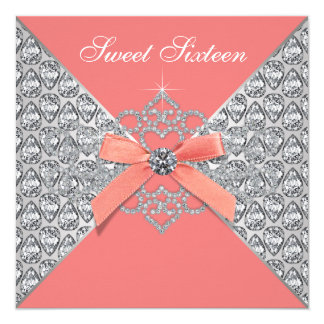 "Coral Diamonds Coral Sweet 16 Birthday Party 5.25"" Square Invitation Card"