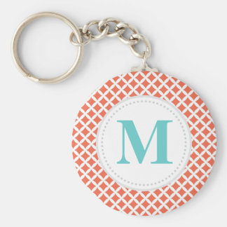 Coral Diamonds Custom Monogram Keychain