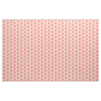 Coral Doggie Paws Fabric