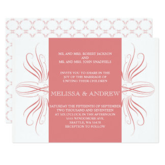 Coral Elegant Curves Wedding inviation Card