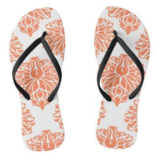 Coral Elegant Damask Flip Flops
