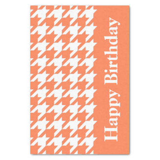 Coral Elegant Houndstooth with custom text Tissue Paper
