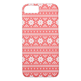 Coral Fair Isle Christmas Sweater Pattern iPhone 8/7 Case