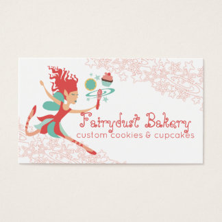 Coral fairy magic whisk cookie cupcake bakery business card