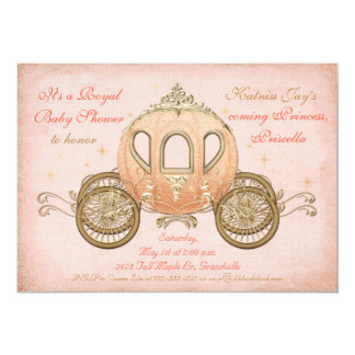 Coral Fairytale Princess Baby Shower Invitations
