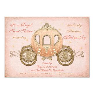 Coral Fairytale Princess Sweet 16 Invitations