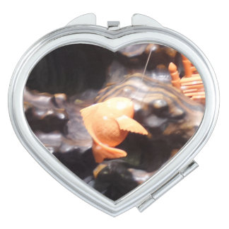 Coral Fish Heart Compact Mirror