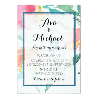 Coral Floral Arrangement Watercolour Invitation