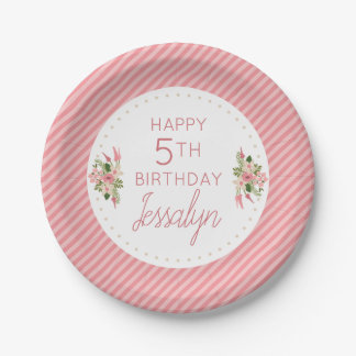 Coral Floral Birthday Personalized Paper Plate