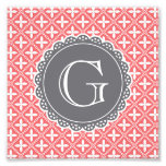 Coral Floral Lattice Pattern Grey Monogram Photographic Print
