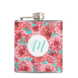 Coral Floral Pattern & Monogram Hip Flask