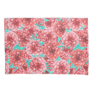Coral Floral Pattern Pillowcase