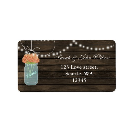 coral flowers mason jar address label