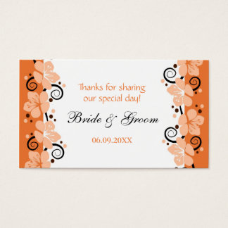 Coral Flowers Wedding Favor Gift Tags Thank You Business Card