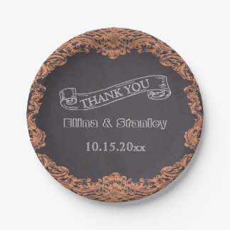 Coral frame and chalkboard wedding Thank You Paper Plate