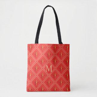 Coral French Fleur de Lis Diamond Pattern Monogram Tote Bag