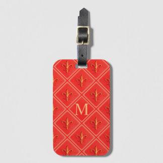 Coral French Fleur de Lis Pattern   Monogram Luggage Tag