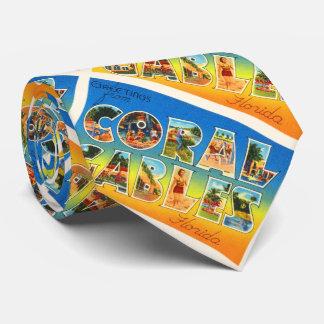 Coral Gables Florida FL Vintage Travel Souvenir Tie