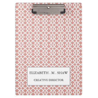 coral geometric pattern clipboards