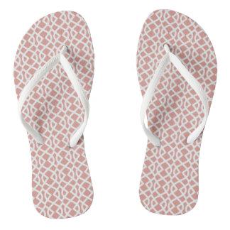 coral geometric pattern flip flops