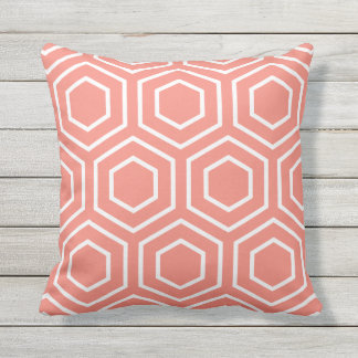 Coral Geometric Pattern Outdoor Pillows