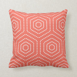 Coral Geometric Pattern Pillow