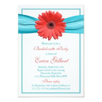 Coral Gerbera Daisy Aqua Ribbon Bachelorette Party Card