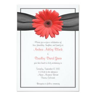 Coral Gerbera Daisy Grey Ribbon Invitation