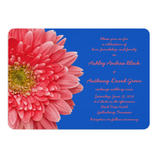 Blue daisy wedding invitations announcements zazzle canada for Royal blue and coral wedding invitations