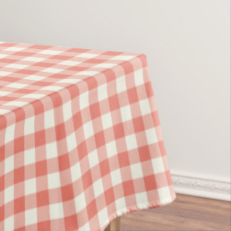 Coral Gingham Cotton Tablecloth