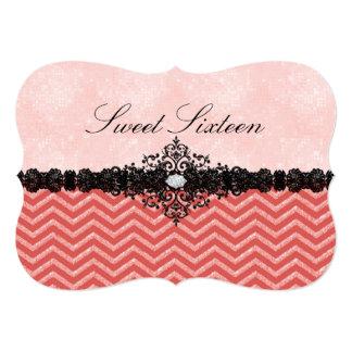 Coral Glitter Chevron & Damask Sweet16 Invitation