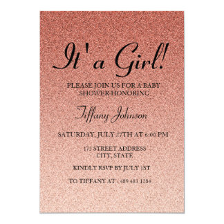 Coral Glitter Faux its A Girl  Baby Shower Invite
