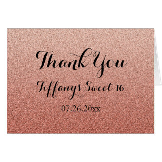 Coral Glitter Faux Ombre Sweet 16 Thank You Card