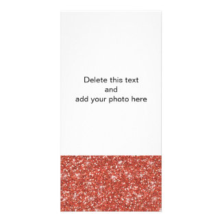 Coral Glitter Printed Picture Card