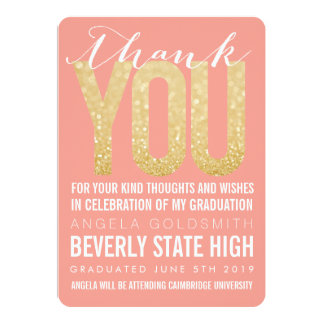 "Coral Glitter Typography Graduation Thank You Card 5"" X 7"" Invitation Card"