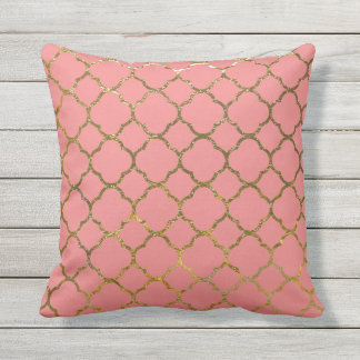 Coral Gold Quatrefoil Pattern Outdoor Pillows