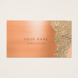 Coral Gold Salmon Flower Botanical Metallic MInima Business Card