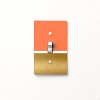 Coral & Gold & White Glam Decor Light Switch Cover